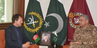 Afghan Ambassador Hazrat Omar Zakhilwal meeting with Chief of Army Staff General Qamar Javed Bajwa