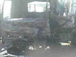 Police truck destroyed in blast