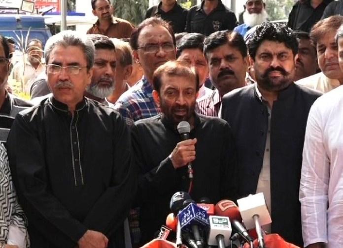MQM-P chief Dr Farooq Sattar talking to media