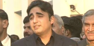 PPP Chairman Bilawal Bhutto talking to media