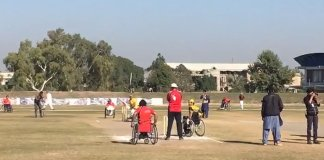 KP vs FATA wheelchair cricket match in Peshawar