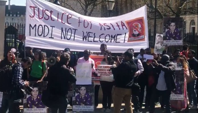 Protest held against Modi upon arrival in London