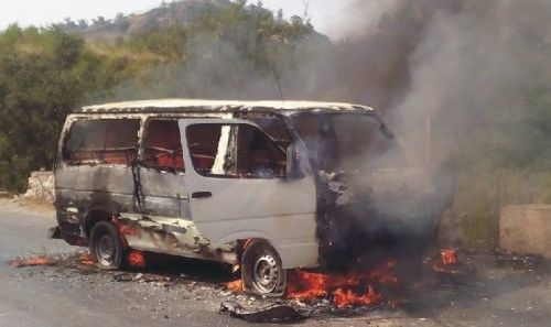 Six passengers dead as van catches fire in Kohat