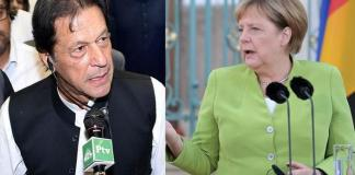German Chancellor Angela Merkel felicitates PM Imran Khan