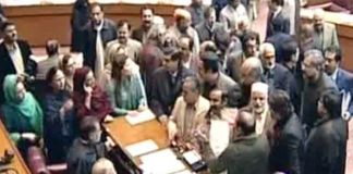 Opposition stages protest in NA, demands Saad Rafiques production order