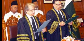 Justice Sheikh Azmat Saeed takes oath as acting CJP