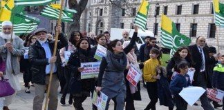 Demo held outside UK Parliament to highlight sufferings of Kashmiris