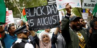 Thousands stage protest outside Indian High Commission in UK in support of Kashmir