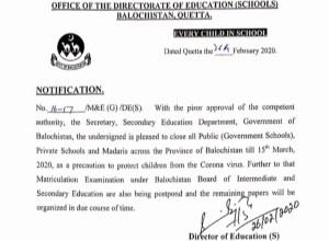 Coronavirus: Balochistan shuts down schools, madaris till March 15
