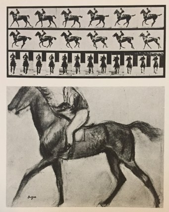 Eadweard Muybridge, The Horse in Motion, 1878, with a sketch by Degas of the second image