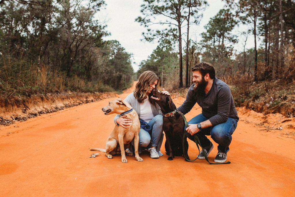 Kiara Watson with husband, Jonathan, and their two dogs