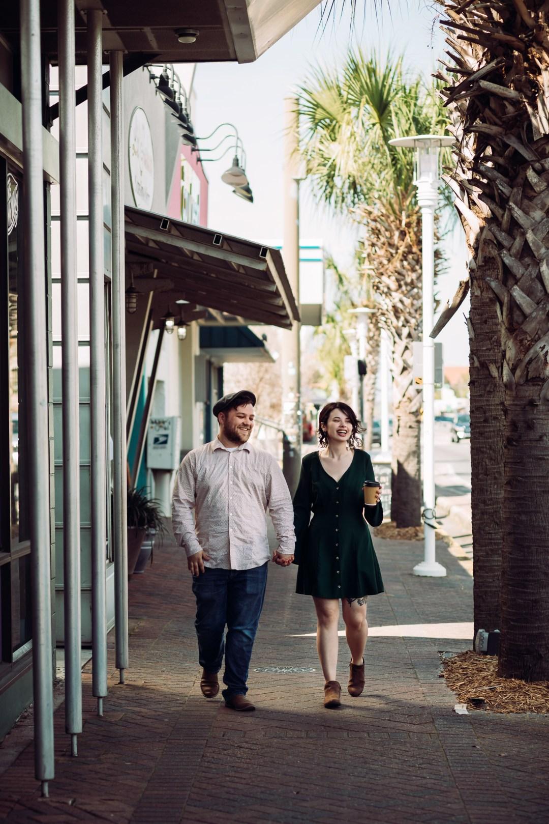 couple walking in downtown Fort Walton Beach