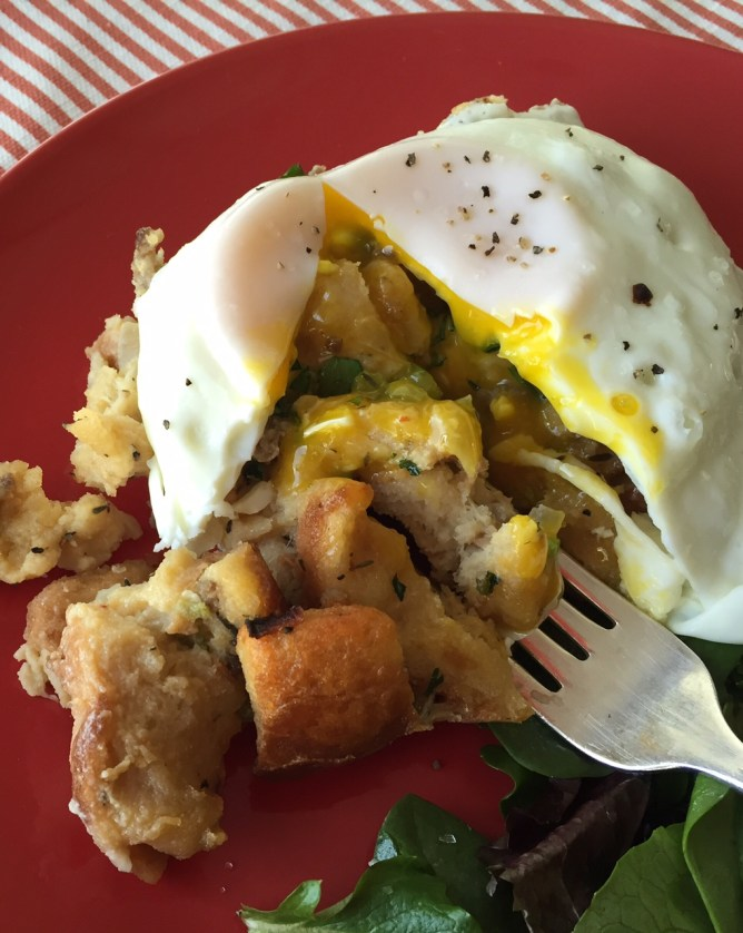 Sage Sausage Stuffing with an egg on it