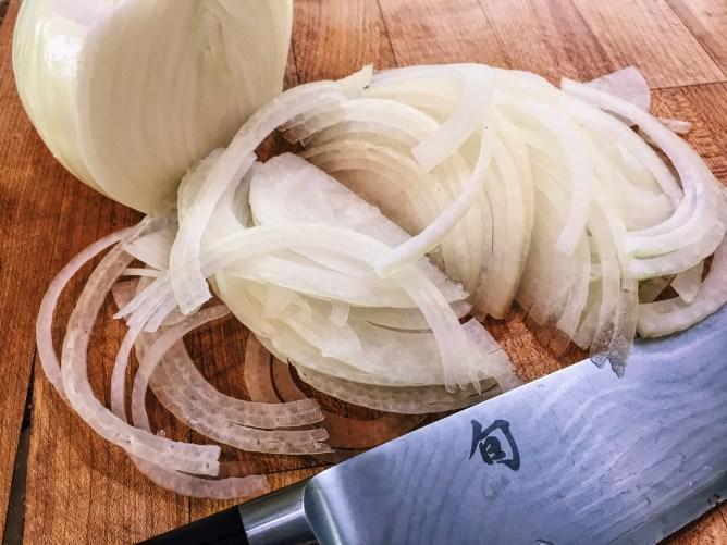 Caramelized Onion with Mushrooms over Smooshed Cauliflower
