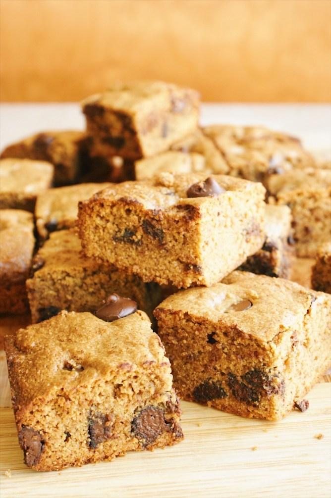 Quinoa Blondies with Dark Chocolate Chips