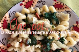 One Pot Spinach, Sun Dried Tomato and Artichoke Pasta