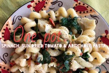 One Pot Spinach, Sun Dried Tomato and Artichoke Pasta