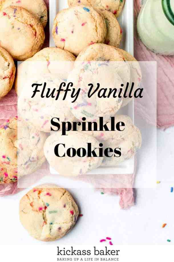 Fluffy Sprinkle Cookies pin for Pinterest