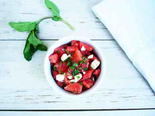 Refreshing Watermelon Feta Salad with Mint | kickassbaker.com #summersalad #watermelonrecipe #refreshing #mint