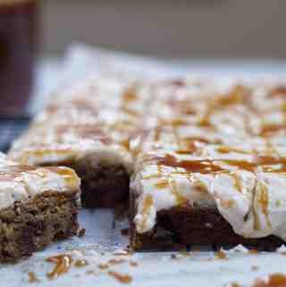 Brown Butter Blondies with Salted Caramel Buttercream | kickassbaker.com #blondies #brownbutter #saltedcaramel #saltedcaramelbuttercream #kickassbaker