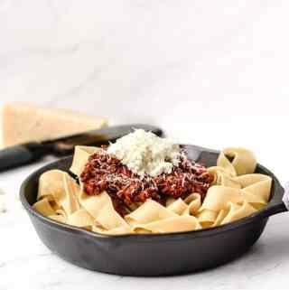 Weekend Bolognese Sauce | kickassbaker.com #bolognese #meatsauce #weekendcooking #italian #familydinner #sundaydinner #marcellahazan #ricotta #ricottacheese #homemade #fromscratch #kickassbaker