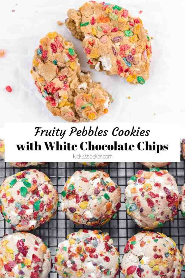 Fruity Pebbles cookies with white chocolate chips | kickassbaker.com #kickassbaker #cerealmilk #cookies #fruitypebbles #cereal #whitechocolatechips #breakfasttreats #cookierecipes #fruitypebblerecipes