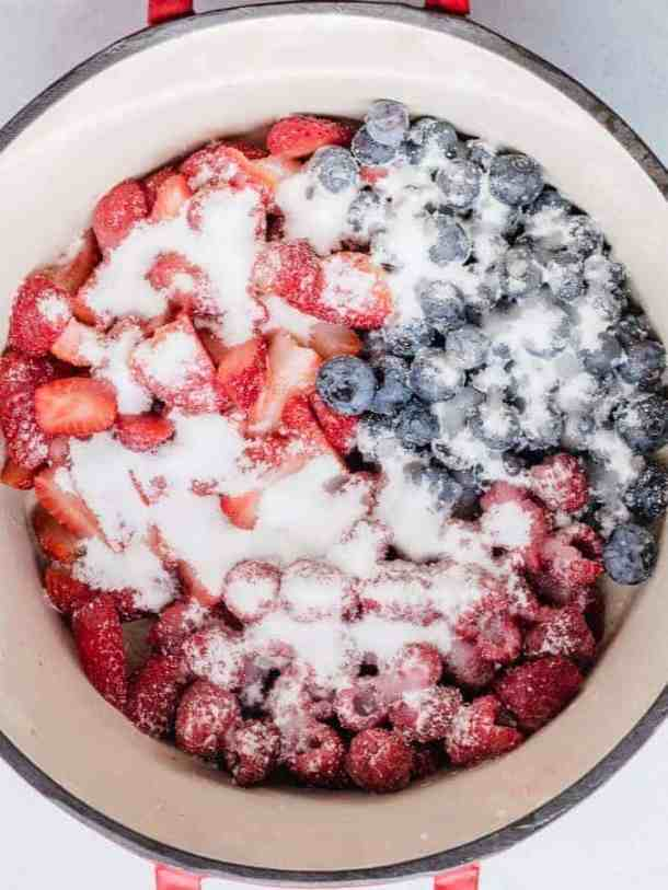 Small Batch Mixed Berry Jam berries macerating in pot | kickassbaker.com