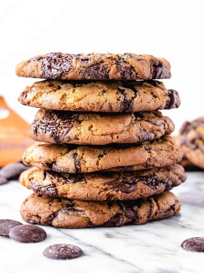 Very large, decadent chocolate chip cookies with pools of bittersweet chocolate