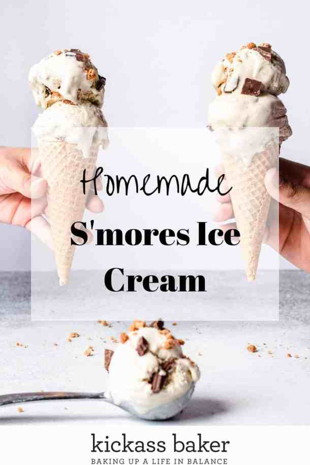 Easy Homemade S'mores Ice Cream Pin for Pinterest with text overlay