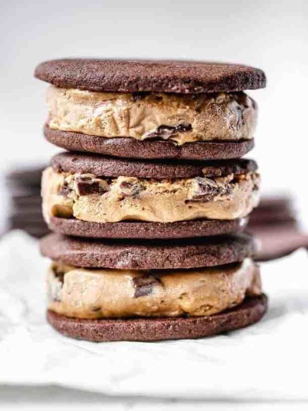 Close up shot of 3 stacked chocolate ice cream sandwiches