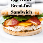 Gluten Free Egg White Breakfast Sandwich | kickassbaker.com pin for pinterest with text overlay