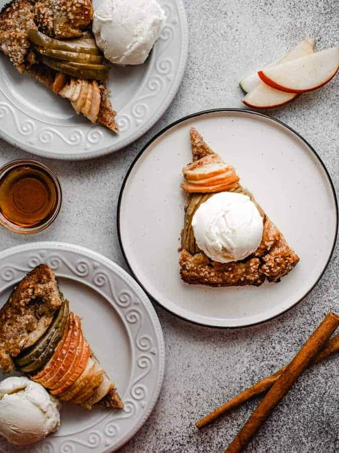 slices of maple apple galette with scoop of ice cream on top