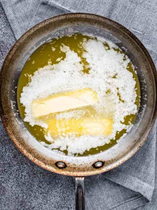 How to brown butter by melting butter in a skillet