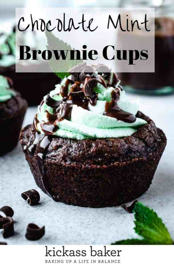Chocolate Mint Brownie Cups | kickassbaker.com pin for Pinterest with text overlay