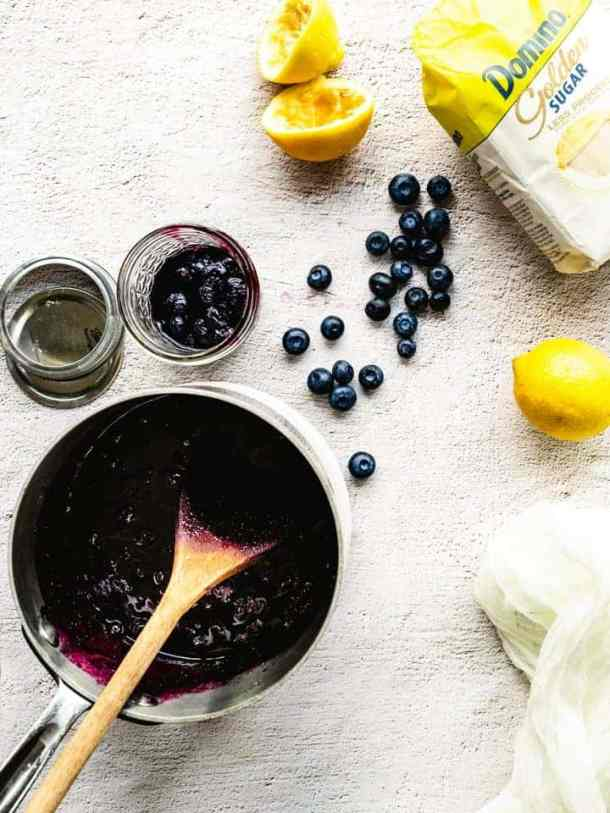 preparing blueberry jam