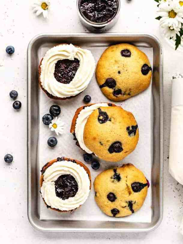 blueberry whoopee pies on a sheet tray