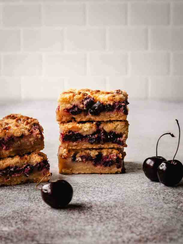 stack of cherry pie bars