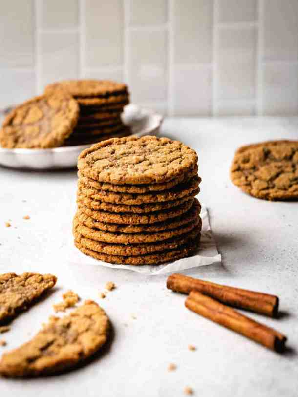 stack of thin and chewy brown sugar cookies