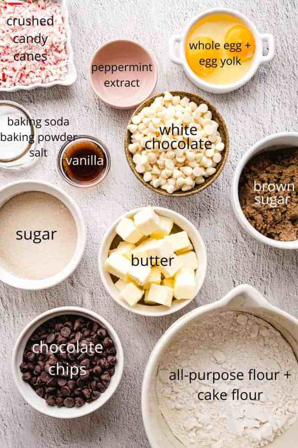ingredients to make white chocolate peppermint cookies