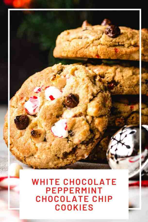 White Chocolate Peppermint Chocolate Chip Cookies | kickassbaker.com pin for pinterest 2