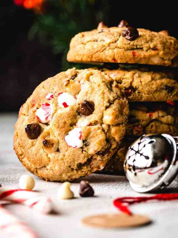 close up of white chocolate peppermint chocolate chip cookie