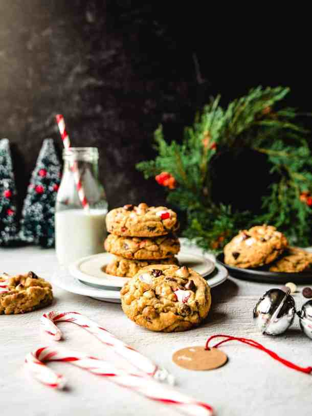 holiday scene with white chocolate candy cane cookies