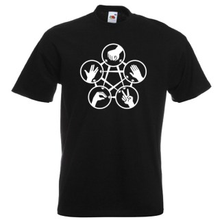 Rock Paper Scissors Spock G2 White on black-Tshirts