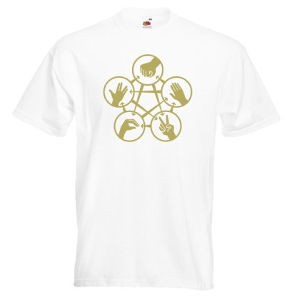 Rock Paper Scissors Spock G2 gold-on-white-Tshirts