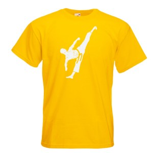 yellow Male Colour Belts 1C-white-on-yellow-Tshirts