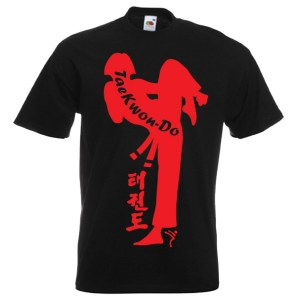 Ladies Taekwondo shirts style-26-red-on-black