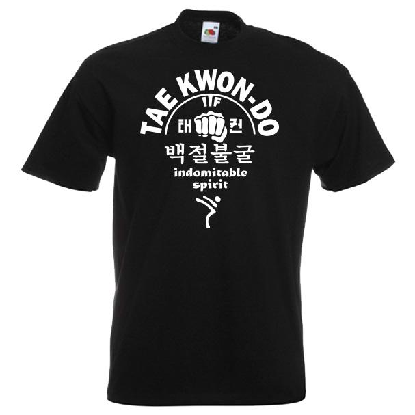 66a-taekwondo-indomitable-spirit-white-on-black-Tshirts