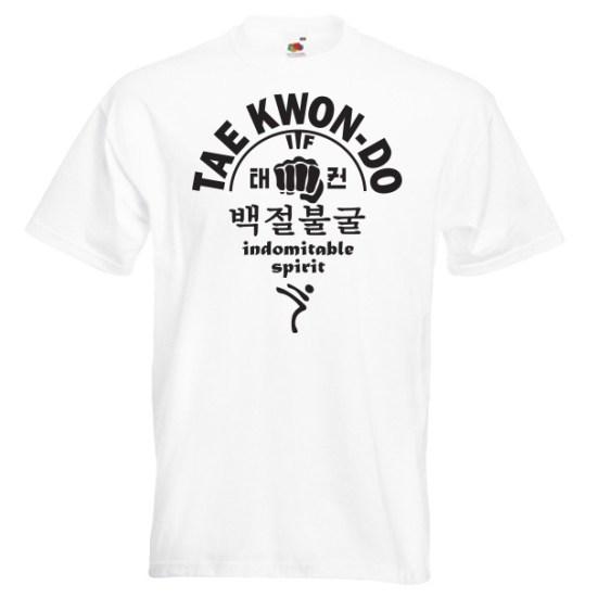 66c-taekwondo-indomitable-spirit-black-on-white-Tshirts
