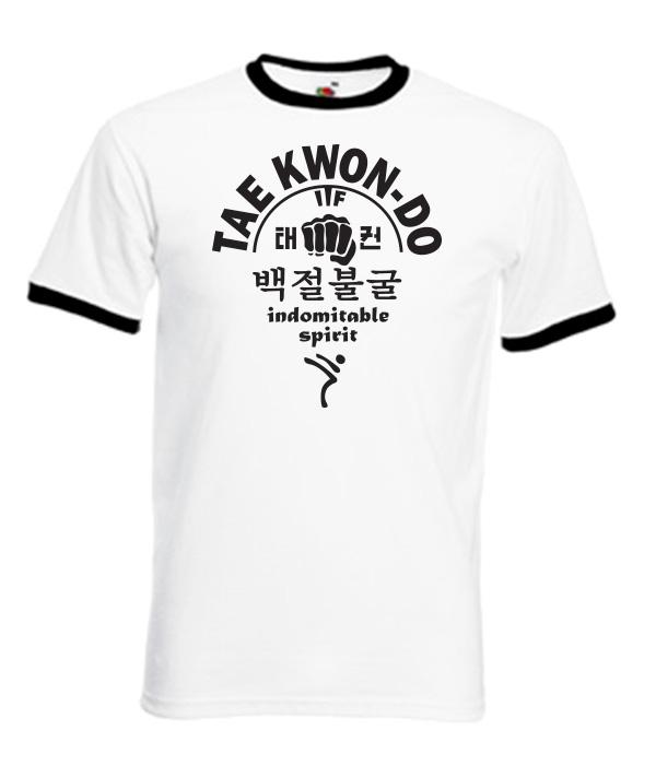 66Rc-taekwondo-indomitable-spirit-black-on-white-ringer-Tshirts