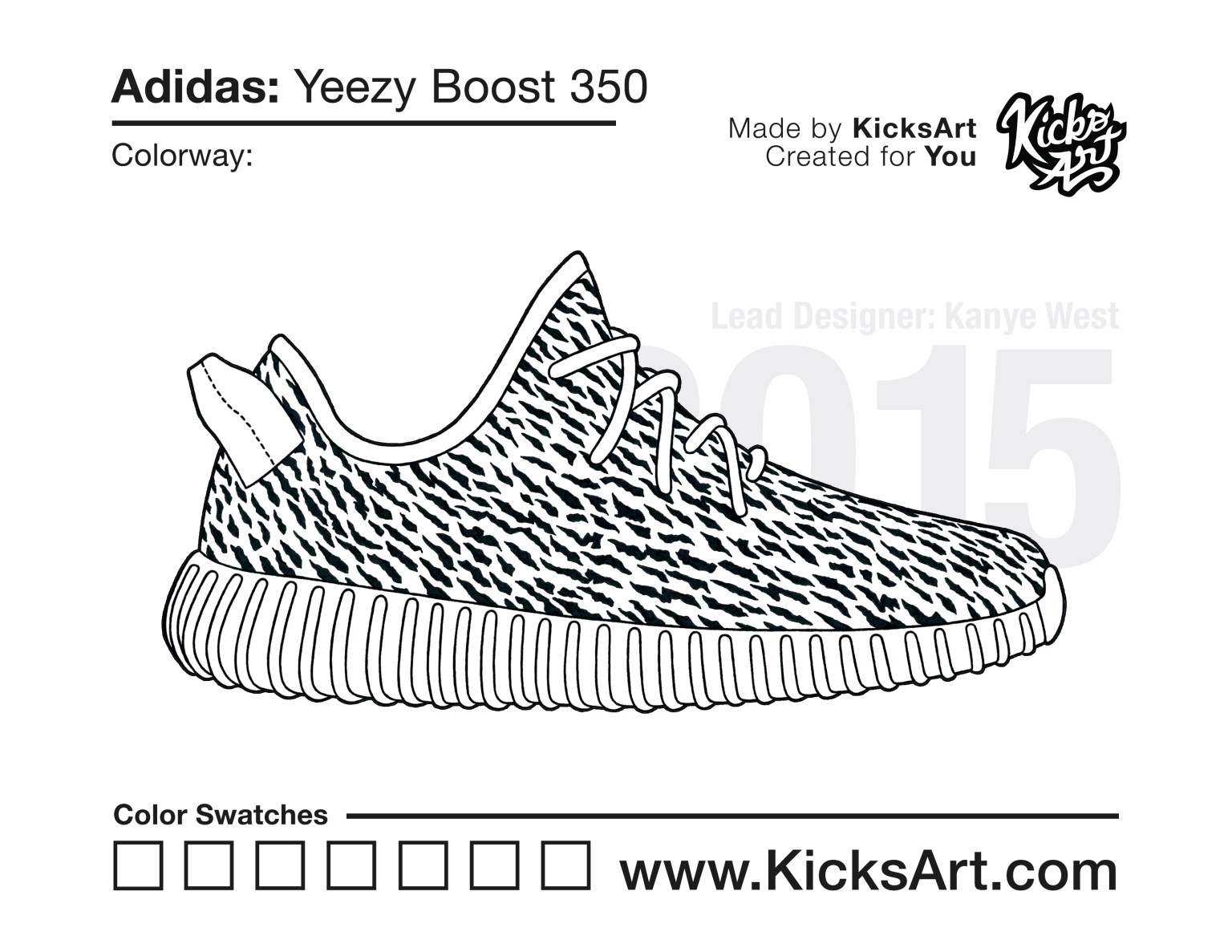 Adidas Yeezy Boost 350 Sneaker Coloring Pages Created By Kicksart